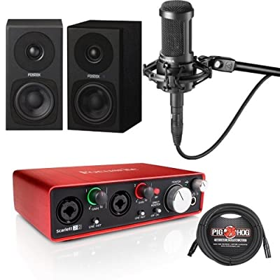 Focusrite Scarlett 2i2 G2, Pair of Fostex PM03B Monitors, AT2035 Mic, Cables from Focusrite