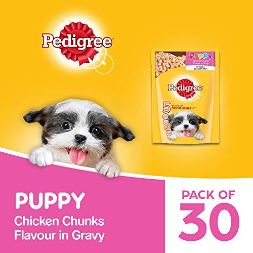 Pedigree Puppy Wet Dog Food, Chicken Chunks in Gravy, 30 Pouches (30 x 80g)