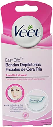 Bandas Depilatorias Faciales de Cera Fría, Veet Easy-Gelwax Para Piel Normal, Caja con 20 pzas