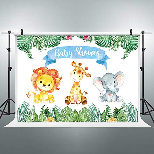 Riyidecor Safari Animals Backdrop Baby Shower Watercolor Jungle Cartoon Photography Background Green Leaves Colorful 7x5ft Decoration Celebration Props Party Photo Shoot Backdrop Vinyl Cloth