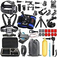 HAPY Juego de accesorios para cámara de video profesional de acción deportiva para GoPro Hero6,5 Black, Hero Session, Hero (2018), Hero 6,5,4,3,3+, GoPro Fusion, SJCAM, AKASO, Xiaomi, DBPOWER, kit de cámara