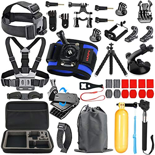 HAPY Sports Action Professional Video Camera Accessory Kit for GoPro Hero6,5 Black, Hero Session,Hero (2018),HERO7, 6,5,4,3,3+, GoPro Fusion,SJCAM,AKASO,Xiaomi,DBPOWER,Camera Kit
