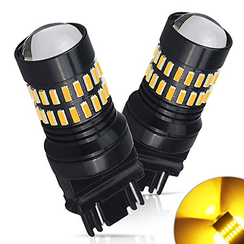 AUXITO Amber Yellow 3157 LED Bulbs Extremely Bright 48-SMD 4014 LED Chipsets 3156 3057 4057 4157 LED Bulbs with Projector for Turn Signal Lights (Pack of 2) (Turn Jimmy Gmc Signal)