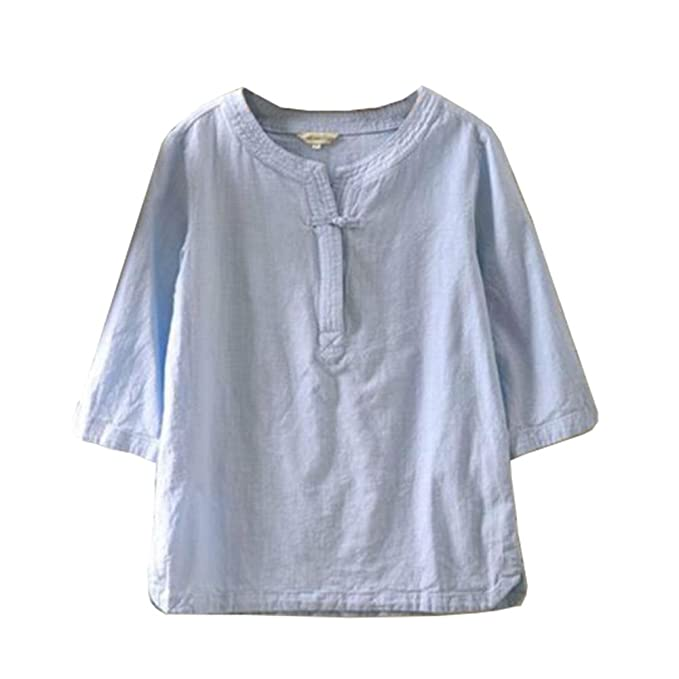 1b5b358f41 Women Ethnic Linen V Neck Shirt T-Shirt Top 3/4 Sleeve Cotton Solid ...