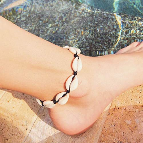 - Nicute Boho Seashell Anklet Black Knitted Ankle Bracelets Beach Braid Foot Chain for Women and Girls