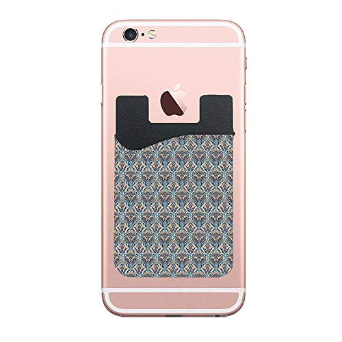 Abstract Floral Pattern with Leaves Grid Card Holder for Phone, Stick on Phone Wallet with Phone Credit Cards for Cell Phone Android Samsung Galaxy (Grid Card Holder)