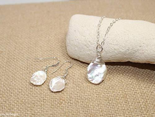 (JP_BEADS Keishi Pearl Necklace & Earrings Set, Keshi, Freshwater Pearl Pendant, Keishi Jewelry 16
