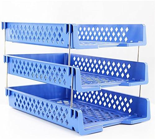 TEET Stehsammler Multi-Layer-Dateiablage File Office-Speicherzubehör Kunststoff-Lagerregal Dreistufiges, horizontales Datei-Rack Office Tabletop Organizer (Color : Blue)