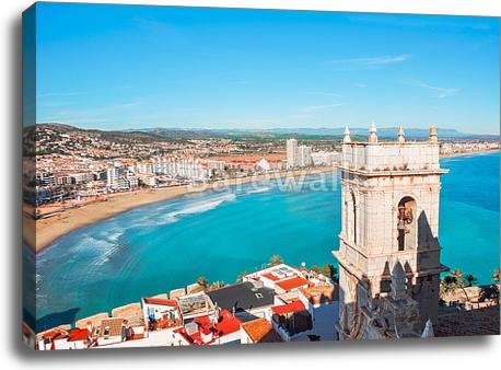 View Of The Sea From A Height Of Pope Luna'S Castle. Valencia, Spain. Peniscola. Castellon. The Medieval Castle Of The Knights Templar On The Beach. Beautiful View Of The Sea And (30in. x 40in.) by barewalls