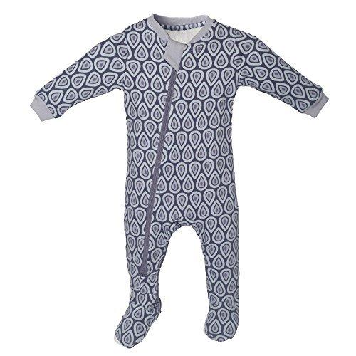 ZippyJamz Organic Baby Footed Sleeper Pajamas w/Inseam Zipper ~ Drip Drop Dream (0-3 Months)