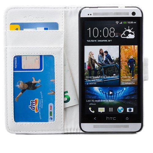 HTC One M7 | iCues acolchada rosa bolsa de aleta | [Protector de pantalla, incluyendo] cuero - libro con bisagras de la manga bolsillo del teléfono celular bolsa protectora para abrir la caja tirón de Blanco