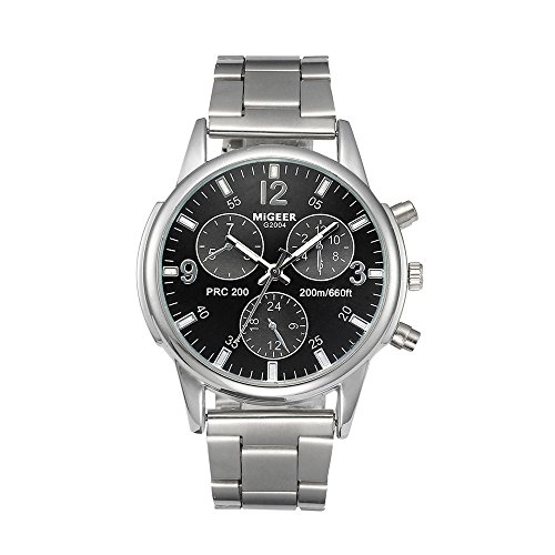 Fashion Watches for Men Arab Number Scale Stainless Steel Band Analog Quartz Wrist Watch (Black)