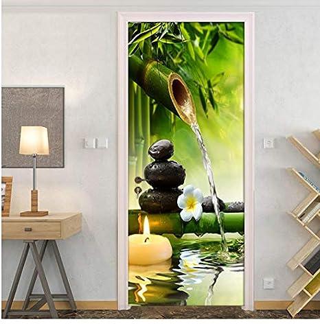PANDABOOM DIY 3D Grün Bambus Landschaft Türaufkleber PVC ...