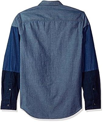 Calvin Klein Men's Long Sleeve Button Down Shirt Colorblocked Chambray