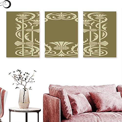 J Chief Sky Art Nouveau Wall Decoration Floral Border with Tropical Pineapple Fruits Leaves Retro Style Swirls Triptych Photo Frame Sepia Sage Green Triptych Art Canvas W 16