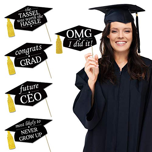 Tifeson Graduation Photo Booth Props Kit - Gold Glitter Hilarious Graduation Caps Props - 2019 Graduation Decorations for Graduation Party Supplies 2019 - Large Size, 20PCs ()