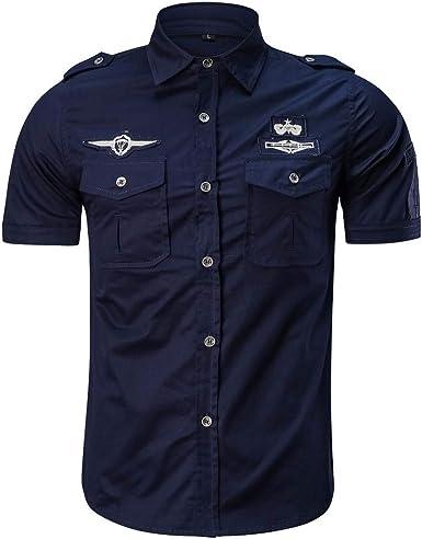 DOGZI Camisas Militar Hombre - Manga Corta de Color sólido Suelta Moda Bolsillo Militar Camisa: Amazon.es: Ropa y accesorios