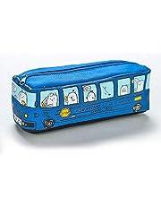 مقلمة بتصميم شكل باص مدرسة وحيوان لطيف، لادوات الرسم ومستلزمات المدرسة والمكتب - ازرق