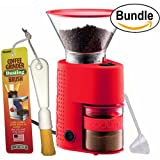 Bodum BISTRO Burr Grinder, Electronic Coffee Grinder with Continuously Adjustable Grind, Brushtech Coffee Grinder Dusting Brush & Zonoz One-Tablespoon Plastic Clever Scoop Bundle (Red)