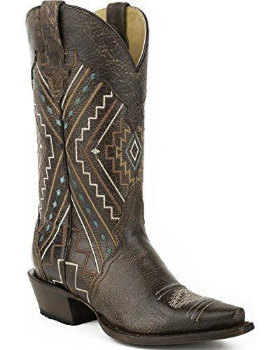 Roper Ladies Southwest Square Toe Brown Boots 9.5