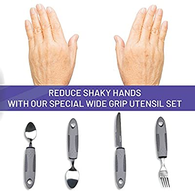 Everyday Medical Assisted Eating Utensils for Tremors – Large, Easy Grip Handle Adaptive Eating Utensils – Useful for The Elderly, Parkinson's Sufferers, and Shaking Or Trembling Hands (Gray 4 Pack)