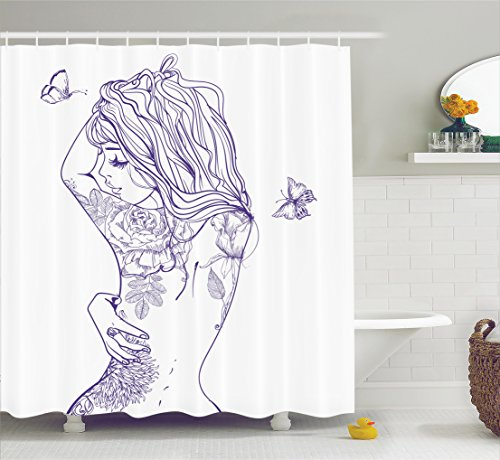 (Ambesonne Girly Decor Shower Curtain Set, Young Girl with Tattoos and Butterflies Free Your Soul Inspired Long Hair Feminine Image, Bathroom Accessories, 69W X 70L Inches, Purple White)