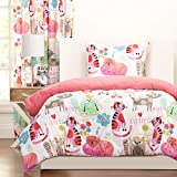 3 Piece Multi Girls Kids Cat Comforter Full/Queen Set, Adorable I Love Kittens Bedding for Children, All Over Kitty Cat Lovers Pink Themed, Funny Purrty Cats, Heart, Flowers Print, Bright Colors