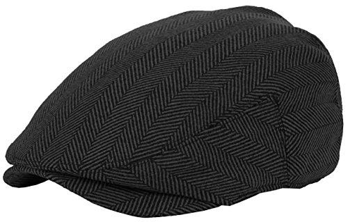 DRY77 Wool Blend Newsboy Flat Driver Ivy Hat Cap Winter Plaid Herringbone Tweed, Black, S/M