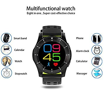 Reloj Inteligente con Pulsómetro Teléfonos Inteligentes Reloj,Bluetooth Remoto Disparador Automático Inteligente Reloj Podómetro Actividad Tracker Moda ...