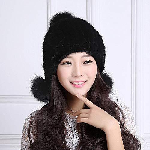 Jie una Gruesa Una Sombreros Mujer Invierno De una Punto Sombrero Bola Calientes Moda Orejeras Personalidad Talla La OOr7qa