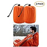 TWFRIC Emergency Sleeping Bag - Waterproof Lightweight Thermal Bivy Sack - Survival Blanket Bags Portable Nylon Sack Camping, Hiking, Outdoor, Activities (2 Pack)