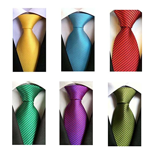 Weishang Pack of 6 Men's Classic Tie Silk Necktie Woven Jacquard Neck Ties