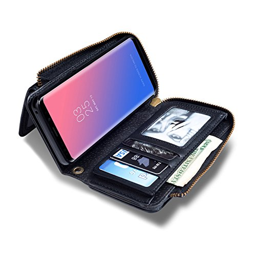 INorton Galaxy S9 Plus Case, Zipper Magnetic Wallet Purse Case with Card Slots and Money Pocket, Retro Vintage Stand Smart Phone Sleeve for Galaxy S9 Plus by INorton (Image #3)