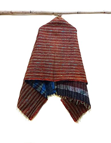 Silk Kantha Scarf Neck Wrap Stole Dupatta Collar Neckerchief Scarves