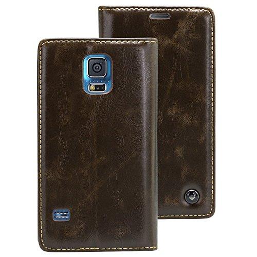 Samsung Galaxy S5/Neo braun Mobilefox Luxus Tasche Geldbeutel Schutz Hülle Case Etui Bumper Schale Cover
