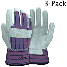 Vgo Glove Cow Split Leather Work Gloves(3-Pairs)(Size:Large)