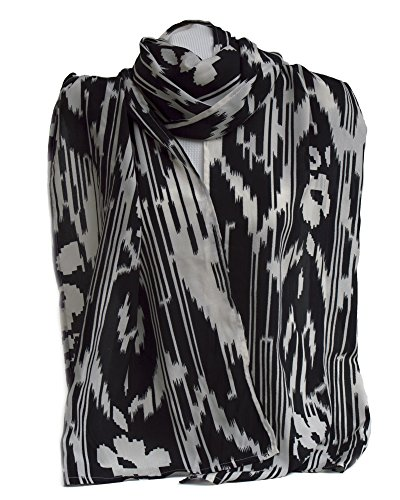 Fedelkea Fashion Colorful Printed Ikat Scarf Cotton Handmade for Women Wrap (Black crepe de chine) Silk Crepe De Chine Printed