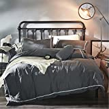 OREISE Dark Gray Duvet Cover Set Full/Queen Size Washed Cotton 3Piece Bedding Set (1 Duvet Cover + 2 Pillow Shams) Soft Breathable Comfortable Bedding Set