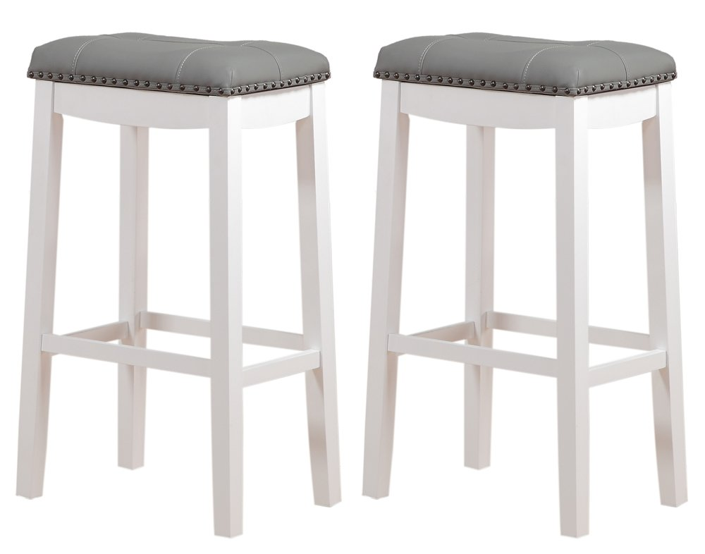 Angel Line Cambridge Padded Saddle Stool with Cushion, 29'' Set of 2, White with Gray by Angel Line