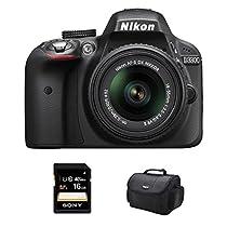 Nikon D3300 DSLR 24.2 MP HD 1080p Camera with 18-55mm Lens Black Kit Includes camera, bag and 16GB SHCH memory card
