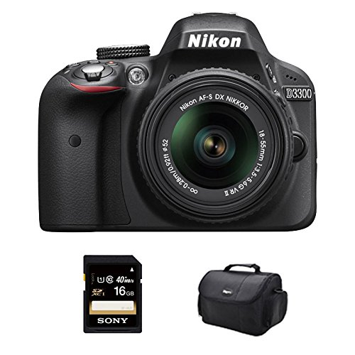 Nikon D3300 DSLR 24.2 MP HD 1080p Camera with 18-55mm Lens Black Kit Includes camera, bag and 16GB SHCH memory card