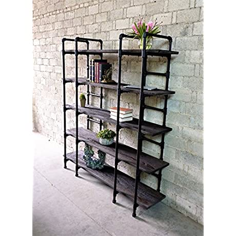 Furniture Pipeline Modern Industrial Wide Large Open Etagere 6 Shelf Pipe Bookcase Metal With Reclaimed Wood Finish 64 W
