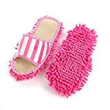 Aohro 1 Pair Women Dust Mop Slippers Washable Summer Chenille Fibre Cute Foot Socks Shoes Floor Cleaner for House Office Kitchen Bathroom Bedroom-Pink