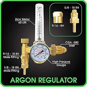 Manatee Argon Regulator TIG Welder MIG Welding CO2 Flowmeter 10 to 60 CFH - 0 to 4000 psi pressure gauge CGA580 inlet Connection Gas Welder Welding Regulator Accurate Gas Metering System from MANATEE
