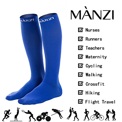 Compression Socks for Men & Women, 20-25 mmHg Graduated Compression for Ultimate Performance & Faster Recovery, Running Casual Socks for Athletes, Nurses, Travelers, Maternity & Pregnancy, 1 Pack by Manzi (Image #4)