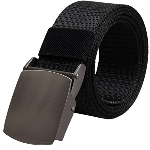 BEKILOLE Men's Military Tactical Web Belt Nylon Canvas Webbing Metal Buckle Belt-Classic Black 55