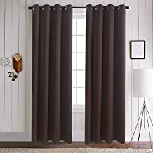 Aquazolax Plain Top Eyelets Blackout Thermal Curtains for Living Room, 52 x 95 Inch, Toffee Brown, Set of 2