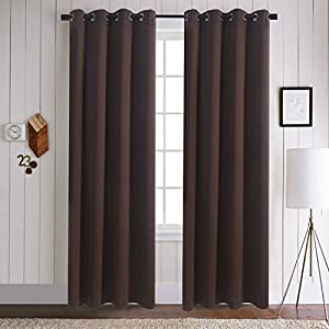Aquazolax Blackout Window Curtains and Drapes Window Treatment Thermal Insulated Solid Grommet Blackout Drapery Panels, 1 Pair, W54 x L72, Toffee Brown