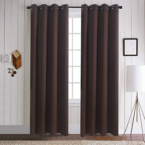 Drapery Panel Set - Blackout Curtains for Living Room - Aquazolax Solid Thermal Insulated Window Treatment Curtain Panels 52