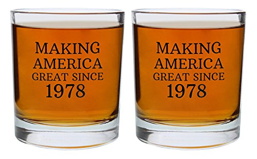 40th Birthday Gifts for Dad Mom Making America Great Since 1978 Republican Conservative 40th Birthday Party Supplies Gift Lowball Glasses 2-Pack Round Lowball Tumbler Set Black by ThisWear (Image #3)